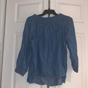 DO+BE Tops - Off the shoulder denim long sleeve blouse